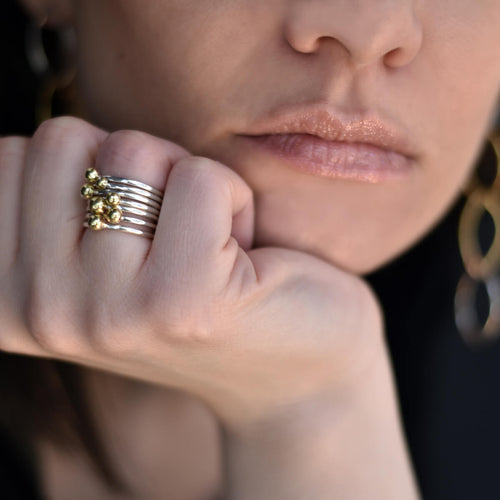 Sterling Silver & Brass Stackable Bubbles Ring ,[product vendor],JewelStreet