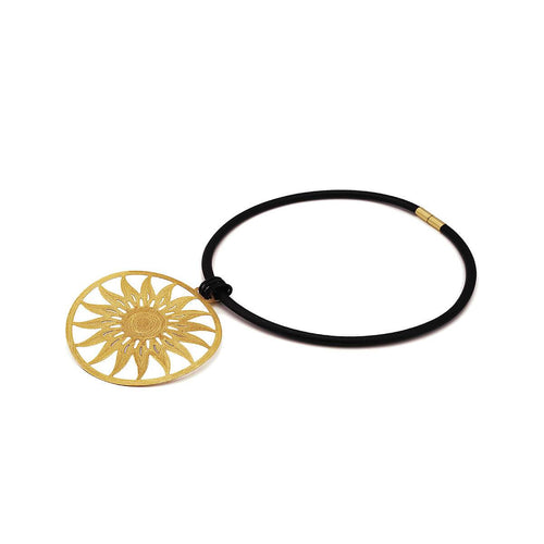 Gold Plated Sun Necklace With Leather