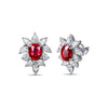 Cushion Cut Ruby Diamond Studs-SILVER YULAN-JewelStreet US