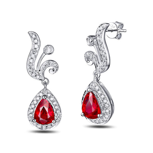 Pear Cut Ruby Diamond Earrings - 1.0ct Rubies-SILVER YULAN-JewelStreet US