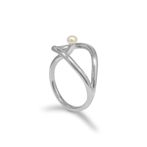Sterling Silver Calla Pearl Ring