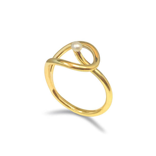 Yellow Gold Plated Calla Pearl Ring