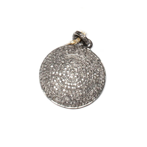 Rhodium Plated Large Round Pave Diamond Pendant ,[product vendor],JewelStreet