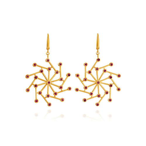 Cosmos Earrings With Red Spinel