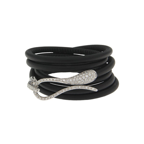 Elika Plain Bracelet Black Leather With White Diamonds-Dada Arrigoni Jewelry-JewelStreet US