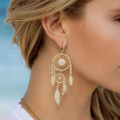 Gold Vermeil Dreamcatcher Single Earrings