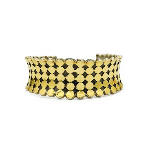 Yellow Gold Plated Orb Cuff Bracelet