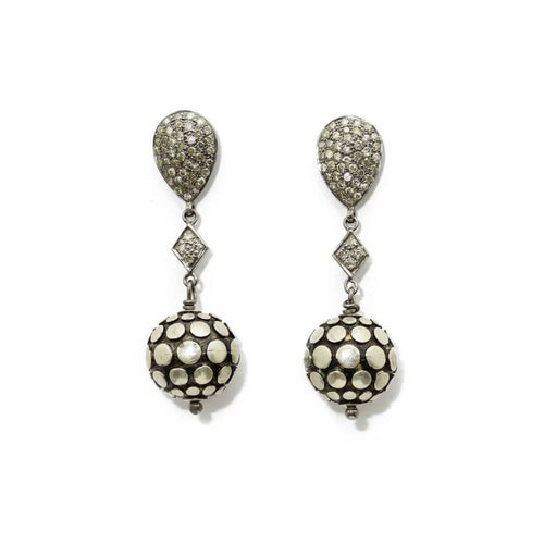 White Gold Plated The Orb Dangling Earrings