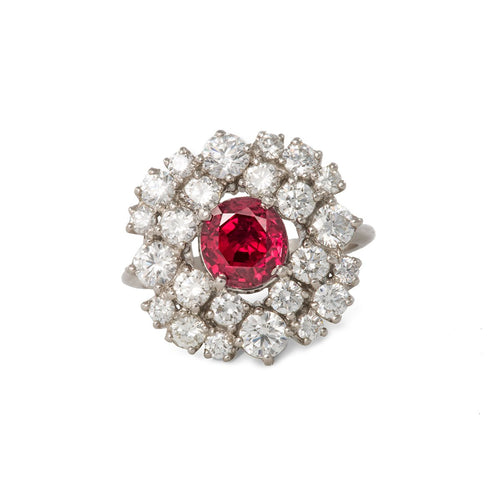 Platinum & Ruby Art Deco Ring | Katherine LeGrand