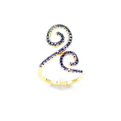 14kt Yellow Gold Double Spiral Black Diamond Statement Ring ,[product vendor],JewelStreet