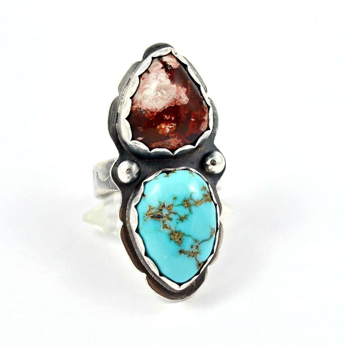 Dual Opal Turquoise Ring-Gemspell Jewellery-JewelStreet US