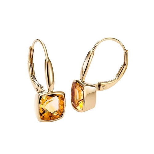 Yellow Gold Citrine Earrings-Isaac Westman-JewelStreet US