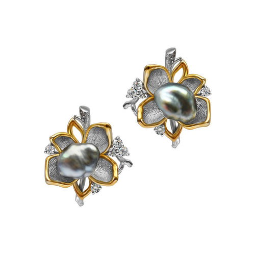 White & Yellow Gold Pearl Flower Eden Stud Earrings | Chekotin Jewellery