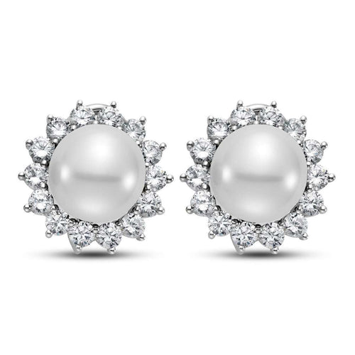 14kt White Gold South Sea Pearl And Diamond Earrings-Isaac Westman-JewelStreet US
