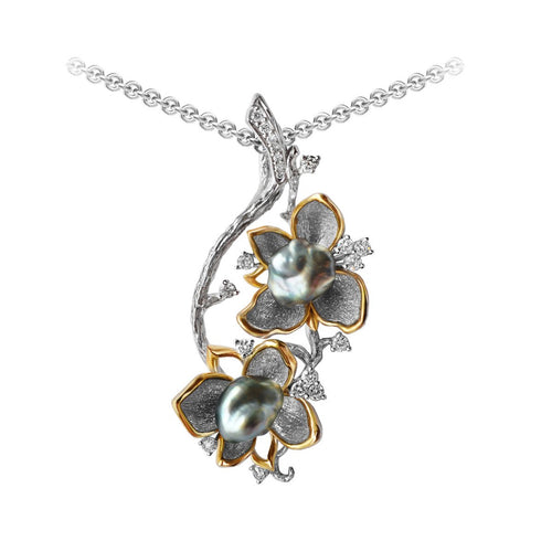 White & Yellow Gold Pearl Flower Eden Pendant | Chekotin Jewellery