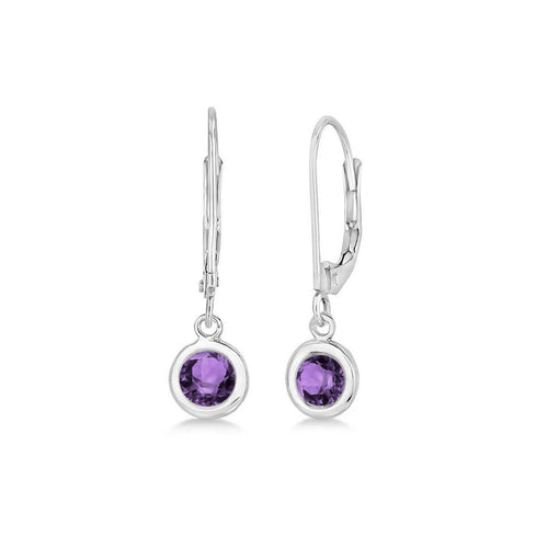 White Gold & Amethyst Leverback Dangling Drop Earrings | Allurez