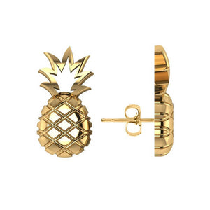 Yellow Gold Pineapple Fashion Stud Earrings | Allurez