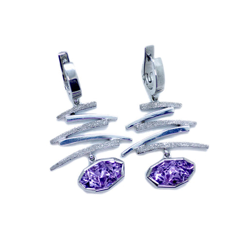 White Gold Plated Silver Amethyst Earrings ,[product vendor],JewelStreet
