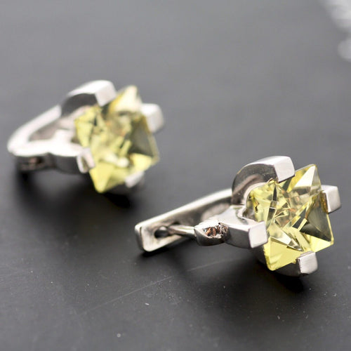 White Gold Plated Silver Lemon Quartz Earrings ,[product vendor],JewelStreet