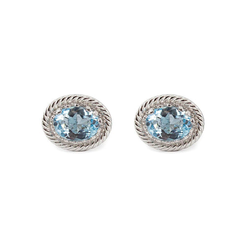 Luccichio Blue Topaz Stud Earrings
