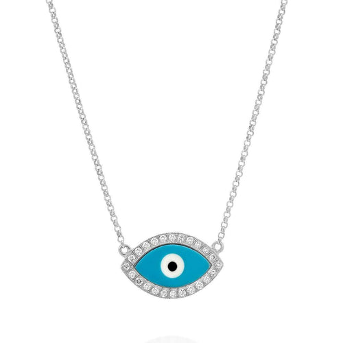 Ellipse Turquoise Evil Eye Necklace-SHARON Fine Jewelry-JewelStreet US