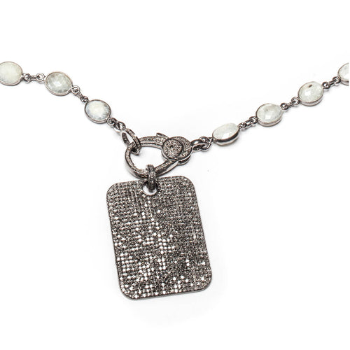 Rhodium Plated Large Rectangular Dog Tag Necklace ,[product vendor],JewelStreet