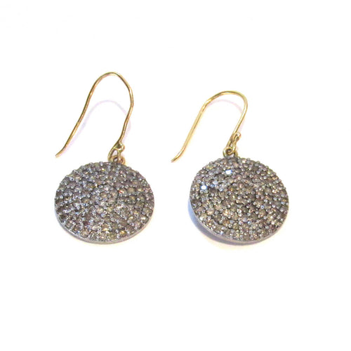 14kt Yellow Gold Pave Diamond Round Drops ,[product vendor],JewelStreet