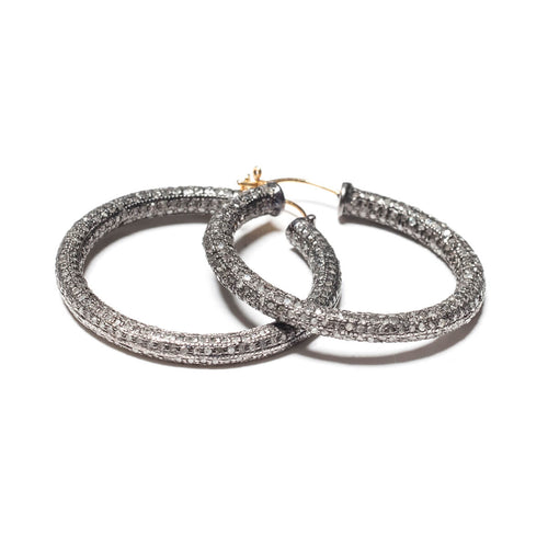 Rhodium Plated Pave Diamond Hoop Earrings ,[product vendor],JewelStreet