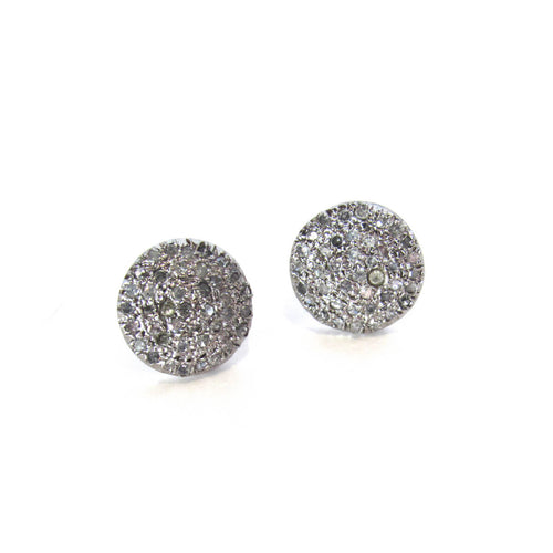 Sterling Silver Pave Diamond Studs ,[product vendor],JewelStreet
