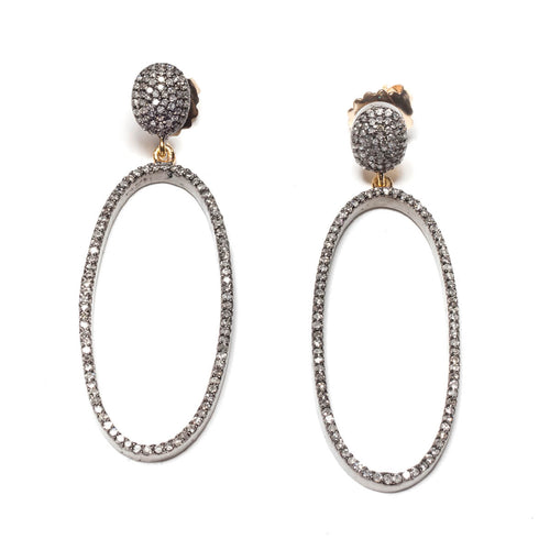 Rhodium Plated Pave Diamond Oval Drop Earrings ,[product vendor],JewelStreet