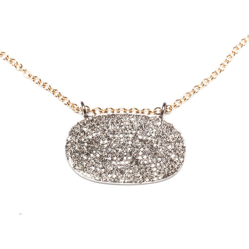 Rhodium Plated Pave Oval Necklace ,[product vendor],JewelStreet