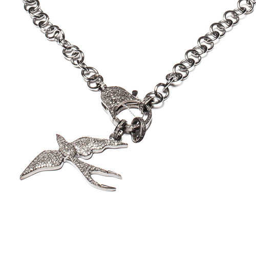 Rhodium Plated Pave Diamond Bird Pendant ,[product vendor],JewelStreet