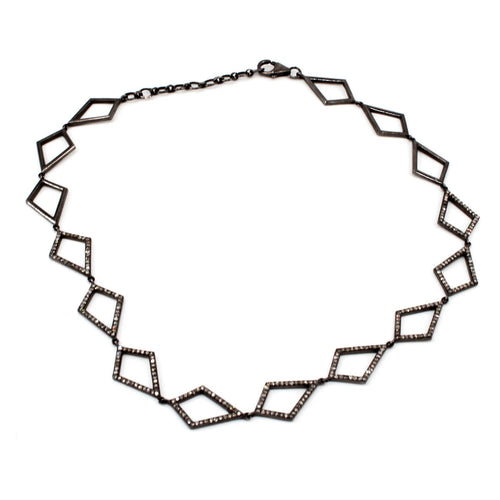 Rhodium Plated Pave Diamond Choker ,[product vendor],JewelStreet