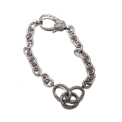 Sterling Silver Pave Diamond Round Connector Chain Bracelet ,[product vendor],JewelStreet