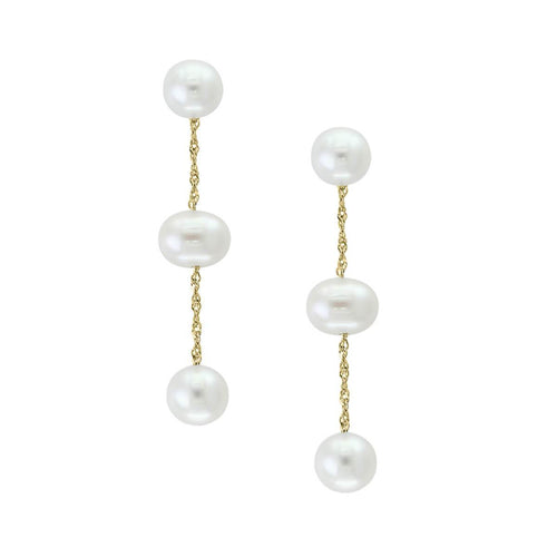Tin Cup Pearl Earrings Yellow Gold