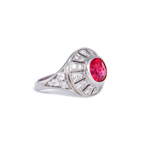 Platinum & Ruby Edwardian Ring | Katherine LeGrand