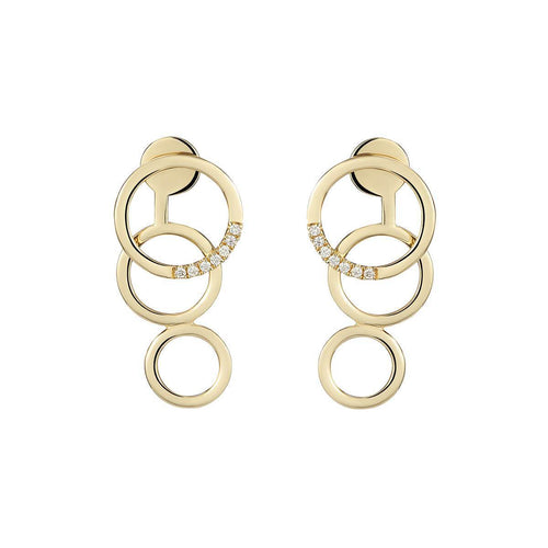 Pair of Yellow Gold & Diamond Embrace Earrings