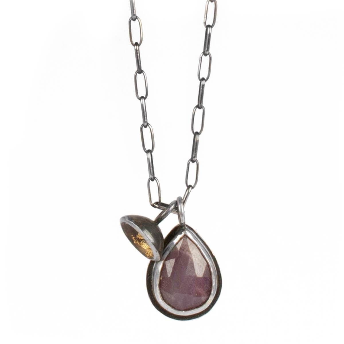 Sterling Silver & Gold Acacia Single Drop Pendant With Sapphire