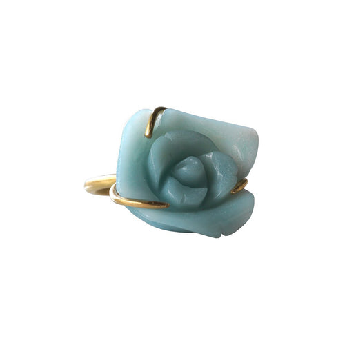 Fleurs De Mon Cœur Ring In Gold And Amazonite-Jewellery Design Marie-Benedicte-JewelStreet US
