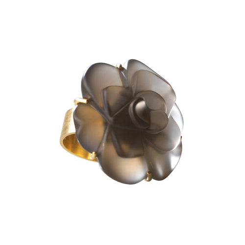 Fleurs De Mon Cœur Ring In Yellow Gold And Smoky Quartz-Jewellery Design Marie-Benedicte-JewelStreet US