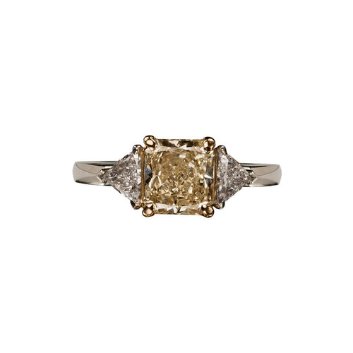 Platinum & 18kt Yellow Gold Fancy Light Yellow Diamond Engagement Ring ,[product vendor],JewelStreet