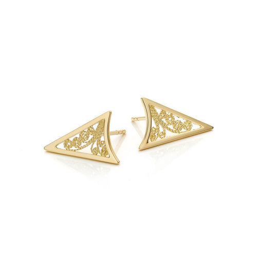 Gold Filigree Triangle Earrings | AMMA Jewelry ,[product vendor],JewelStreet