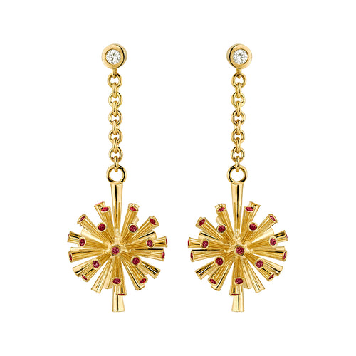 Fireworks Earrings With Red Spinel