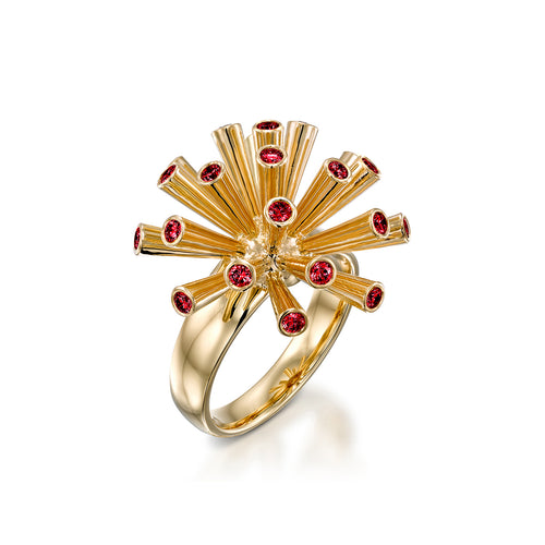 Fireworks Ring With Red Spinel