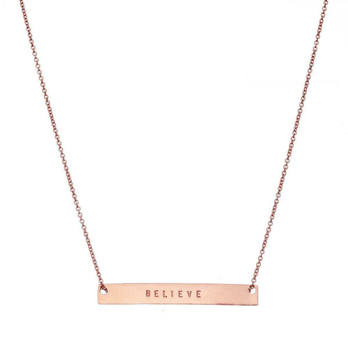 Rose Gold Plated Personalised Flat Bar Necklace