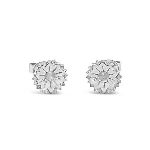 18kt White Gold Fleur Studs ,[product vendor],JewelStreet