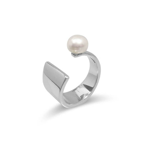 Sterling Silver Plated Floating Pearl Ring