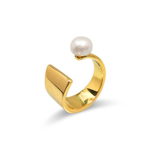 Yellow Gold Plated Floating Pearl Ring