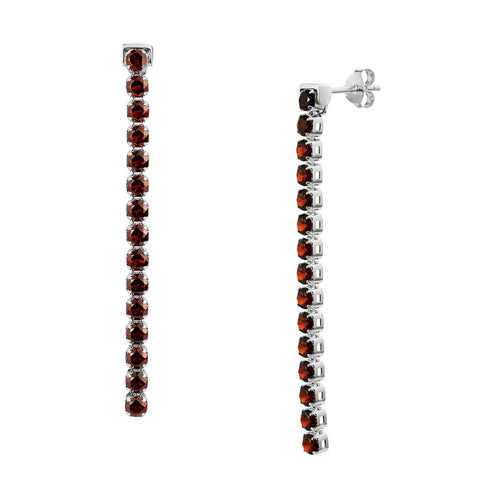 Sterling Silver Zhongshan Garnet Earrings ,[product vendor],JewelStreet