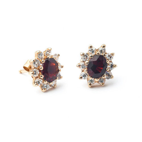 9kt Yellow Gold Oval Garnet Stud Cluster Earrings